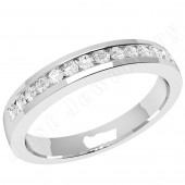JEW061U - Palladium eternity/wedding ring with 14 round brilliant cut diamonds in a channel setting