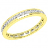 JEW076Y - 18ct yellow gold channel set full eternity/wedding ring with princess cut diamonds