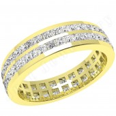 JEW082Y - 18ct yellow gold full eternity/wedding ring with 2 rows of princess cut diamonds