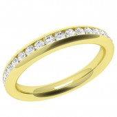 JEW087Y - 18ct yellow gold full eternity/wedding ring channel set with round brilliant cut diamonds.