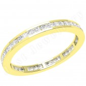 JEW100Y - 18ct yellow gold 2.0mm wide full eternity/wedding ring with channel set round brilliant cut diamonds going all the way around.