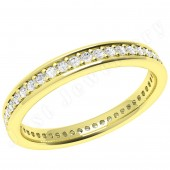 JEW101Y - 18ct yellow gold 3.0mm wide court full eternity/wedding ring with claw set round brilliant cut diamonds going all the way around.