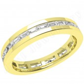JEW104Y - 18ct yellow gold 3.5mm full eternity/wedding ring with channel-set baguette cut diamonds going all the way around.