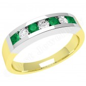 JEM036YW - 18ct yellow and white gold 7 stone emerald and diamond eternity ring