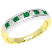 JEM053YW - 18ct yellow and white gold emerald and diamond 9 stone eternity ring in a channel setting