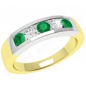 JEM047YW - 18ct yellow and white gold channel set emerald and diamond 5 stone ring