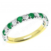 JEM166YW - 18ct yellow and white gold emerald and diamond 15 stone claw set eternity ring