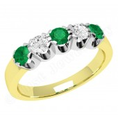 JEM241YW - 18ct yellow and white gold emerald and diamond 5 stone eternity ring