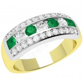 JEM332YW - 18ct yellow and white gold ring with emeralds and diamonds in a channel and claw setting