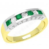 JEM342YW - 18ct yellow and white gold emerald and diamond ring in a channel and claw setting