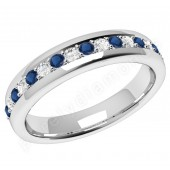 JEWS084W - 18ct white gold 3.75mm eternity ring with 9 round sapphires and 8 round brilliant cut diamonds in a claw setting