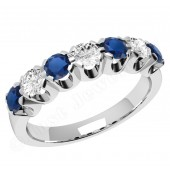 JES244W - 18ct white gold 7 stone sapphire and diamond ring