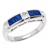 JES260W - 18ct white gold sapphire and diamond rub over set 7 stone ring