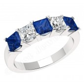 JES310W - 18ct white gold sapphire and diamond claw set 5 stone