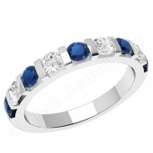 JES327W - 18ct white gold sapphire and diamond bar set 9 stone ring