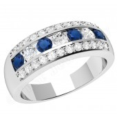 JES332W - 18ct white gold ring with sapphires and diamonds in a channel and claw setting