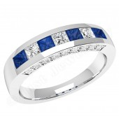 JES337W - 18ct white gold square sapphire and princess cut diamond ring in a channel and claw setting