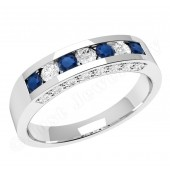 JES342W - 18ct white gold sapphire and diamond ring in a channel and claw setting