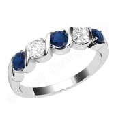 JES367W - 18ct white gold 5 stone sapphire and diamond ring